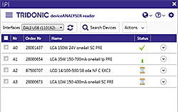 Screenshot deviceANALYSER reader software